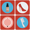 Feminine beauty colorful icon set foundation spray bottle red shoes pearl necklace hair comb digital background vector Royalty Free Stock Photo