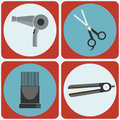 Feminine Beauty Hairstyling Tools colorful icon set