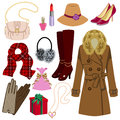 Feminine fashion item winter and autumn vector illustration of Stock Photos
