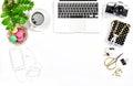 Feminine home office desk Business Hero header social media Royalty Free Stock Photo