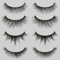 Feminine lashes vector set. Realistic false eyelashes fashion collection