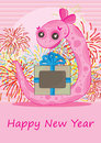 Feminine Snake Gift Happy New Year_eps Stock Photography