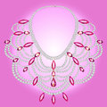 Feminine vintage necklace with pink gems illustration Royalty Free Stock Photography