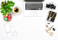 Feminine workplace Office supplies laptop Valentines Day Love He Royalty Free Stock Photo