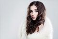 Femininity Beauty. Beautiful Woman with Long Brown Hair Royalty Free Stock Photo