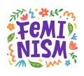 Feminism creative poster, t shirt print, sticker emblem