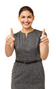 Femme d affaires gesturing thumbs up Photos stock