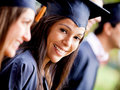 Femme dans sa graduation Photo stock