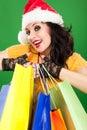 Femme de Santa d'amusement avec des modules Images libres de droits