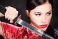 Femme et katana/épée Image libre de droits