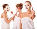 Femmes de groupe avec le masque facial. Image libre de droits