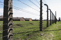 Fence in auschwitz concentration camp was a network of german nazi camps and extermination camps built and operated by the Royalty Free Stock Images