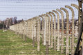 Fence in auschwitz concentration camp was a network of german nazi camps and extermination camps built and operated by the Royalty Free Stock Photography