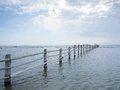 Fence in baltic sea wooden darsser ort western pomerania lagoon area national park germany Stock Image