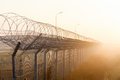 Fence with barbed wire on the border of object at dawn fog in summer russia Royalty Free Stock Photo
