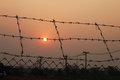 Fence with a barbed wire and sunset Royalty Free Stock Image