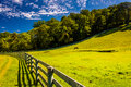 Fence and beautiful farm field in york county pennsylvania Royalty Free Stock Photos