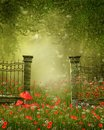 Fence on a colorful meadow fantasy scenery with with flowers Royalty Free Stock Images