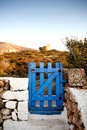 Fence and gate frame in greek island Royalty Free Stock Photo