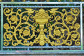 Fence grille a painted wrought iron metal with design Royalty Free Stock Images