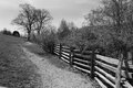 Fence Line a Country Lane on the Blue Ridge Parkway Royalty Free Stock Photo