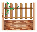 A fence made of bricks and woods illustration on white background Stock Photography