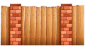 A fence made of wood and bricks illustration on white background Royalty Free Stock Photography
