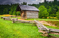 Fence and old log cabin at cade s cove great smoky mountains na national park tennessee Stock Image