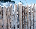 Fence post broken wood planks winter rural Stock Images