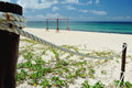 Fence from rope on beach Royalty Free Stock Photo