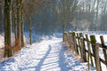 Fence in winter landscape Royalty Free Stock Photo