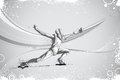 Fencer attacking with rapier foil easy to edit vector illustration of Stock Photo
