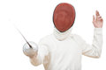 Fencer with rapier foil Royalty Free Stock Images