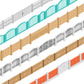 Fences And Gate Isometric Elements Royalty Free Stock Photo
