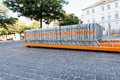 Fences movable stand on a platform of a truck in the middle of a square Royalty Free Stock Images