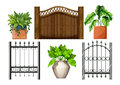 Fences and plants illustration of the on a white background Stock Image