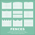 Fences vector set of white rural silhouettes garden park yard elements Stock Photos