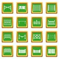 Fencing icons set green
