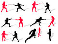 Fencing people silhouettes Stock Photography