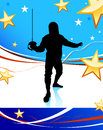 Fencing Sport on American Patriotic Background Royalty Free Stock Photo