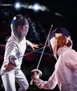 Fencing sport for women epee fencer. Royalty Free Stock Photo