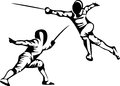 Fencing stylized sport black and white illustration Royalty Free Stock Photo