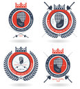 Fencing team, club or championship round emblem set with crown and laurel wreath Royalty Free Stock Photo