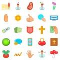 Fend icons set, cartoon style
