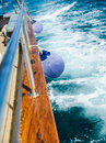 Fender aboard on board the ship is sailing the high seas Stock Photos