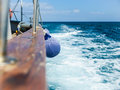 Fender aboard on board the ship is sailing the high seas Stock Image