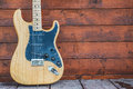 Fender stratocaster wooden electric guitar prague czech republic may product shot Stock Photo