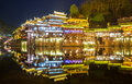 Fenghuang ancient town china phoenix sunset duak hunan province Stock Photography
