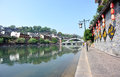 Fenghuang ancient town houses and bridge at tuojiang river hunan province china oct Royalty Free Stock Images