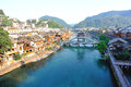 Fenghuang ancient town houses and bridge at tuojiang river hunan province china oct Royalty Free Stock Photography